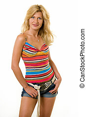 Sexy summer outfit - Beautiful blond hair woman wearing red...