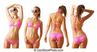 Sexy tan woman in bikini collection isolated on white...