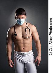 sexy, tancerz, w, doktor, kostium, z, stetoskop