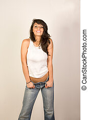sexy, tank-oberteil, frau, jeans