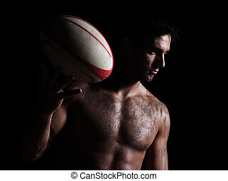 sexy, topless, rugby, homme, portrait