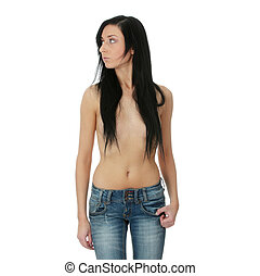 Sexy topless woman in jeans , isolated on white