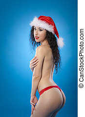 Sexy topless woman Santa helper