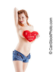 Sexy topless woman with - I love you - sign