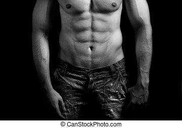 sexy, torso, addome, muscolare, uomo