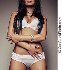 sexy torso girl in white lingerie