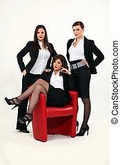 sexy, trio, geschäftsfrauen
