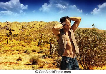 sexy, type, désert