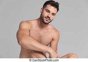 sexy, uomini collocarono, ritratto