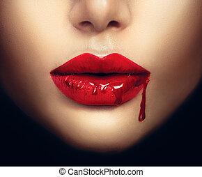 sexy, vampiro, mujer, labios, con, goteo, sangre