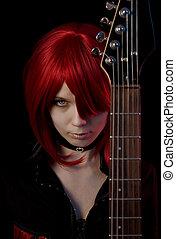 sexy, vampiro, ragazza, con, chitarra