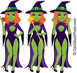 sexy, verde, male, strega