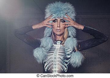 sexy, vestire, donna, moderno, moda