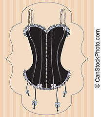 Sexy vintage corset with ribbon