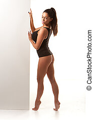 Sexy Voluptuous Woman In Leotard, shapely and fit with large...