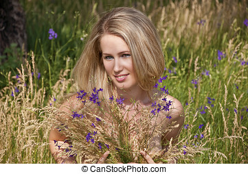 sexy, vrouw, bloem