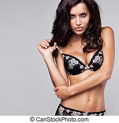 sexy, vrouw, brunette, lingerie