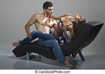 sexy, vrouw, man