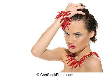 sexy, vrouw, met, juwelen, van, rode heet, peper
