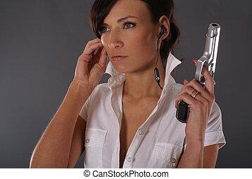 sexy, vrouw, met, wapen