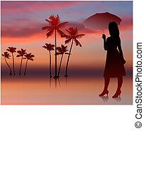 sexy, vrouw, ondergaande zon , achtergrond, bomen