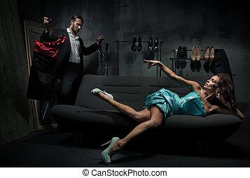 sexy, vrouw, op, de, trainer