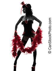 sexy, vrouw, silhouette, showgirl, stripper