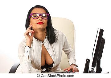 sexy, vrouw zaak, secretaresse