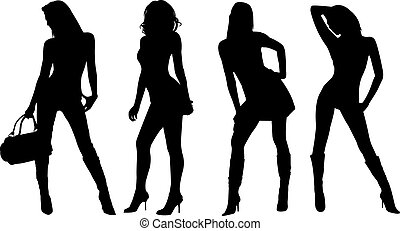 sexy, vrouwen, silhouettes