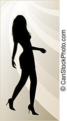 sexy, vrouwlijk, silhouette