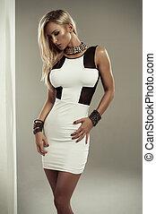 sexy, weißes, frau, kleiden, blond