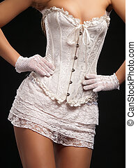 Sexy white - Female model wearing sexy white corset and...