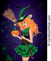 Sexy witch and pumpkin, halloween