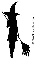 Sexy witch - Silhouette of a sexy witch stiletto heels