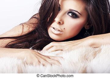 sexy, wizerunek, kobieta, leżący