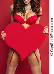 Sexy woman body with red heart. - Sexy brunette woman in red...