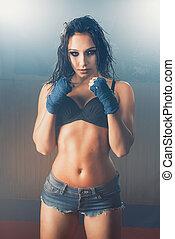 Sexy woman boxer