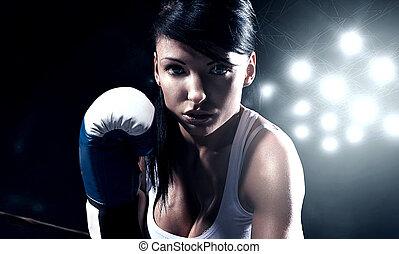 Sexy woman boxing