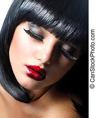 sexy, woman., brunetka, dziewczyna, z, ekstremum, makeup., wampir, styl
