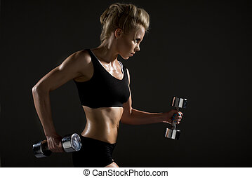 Sexy woman doing physical exercise