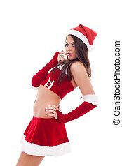 woman dressed as Santa Claus