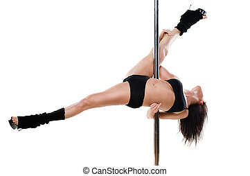 Sexy woman exercise pole dance - Young sexy woman exercise...