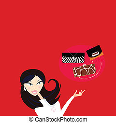 Sexy woman go shopping - what kind of hand bag? - Woman in...