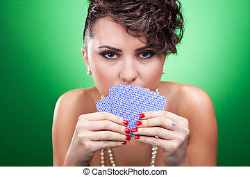 sexy woman holding cards