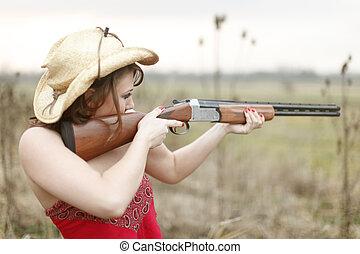 Sexy woman hunting