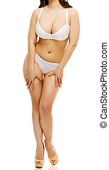 Sexy woman in an underwear, white background, isolated, copyspac