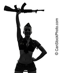 sexy woman in army uniform saluting kalachnikov silhouette