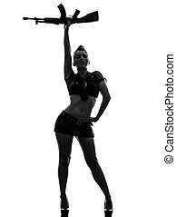 sexy woman in army uniform saluting kalachnikov silhouette