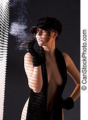 woman in black astrakhan smoking cigar