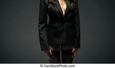 Sexy woman in black blazer and lingerie - Beautiful and sexy...